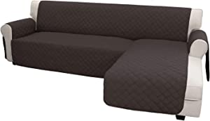 Easy-Going Sofa Slipcover L Shape Sofa Cover Sectional Couch Cover Chaise Lounge Slip Cover Reversible Sofa Cover Furniture Protector Cover for Pets Kids Children Dog Cat (Large,Chocolate/Chocolate)