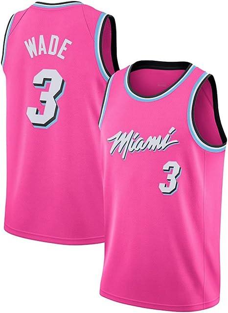 GRYUEN Hombre Ropa de Baloncesto NBA Heat #3 Wade Bordado Tops de ...