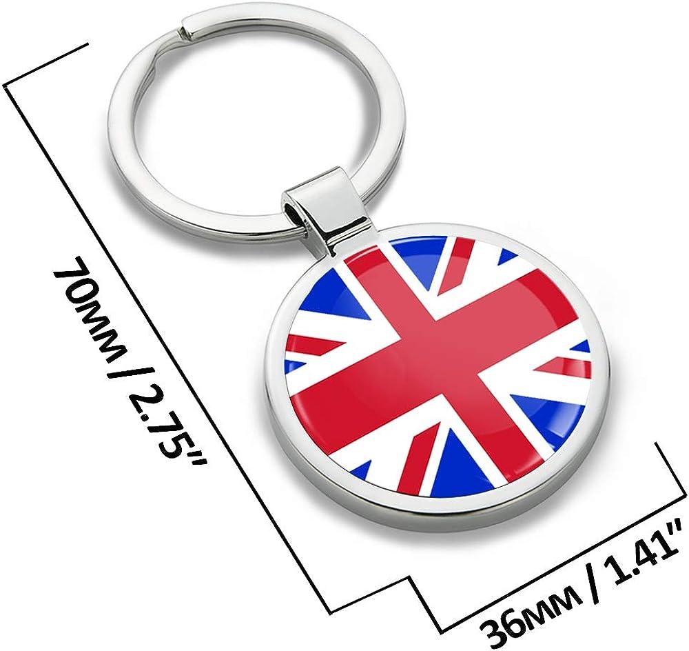 Biomar Labs Schlüsselanhänger Metall Keyring Mit Geschenkbox Autoschlüssel Geschenk Metall Schlüsselanhänger Schlüsselbund Edelstahl Union Jack Uk Großbritannien England Flagge Kk 190 Bekleidung