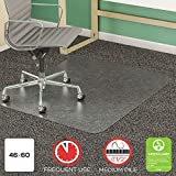 deflecto CM14443F SuperMat Frequent Use Chair Mat Medium Pile Carpet Beveled 46 x 60 Clear