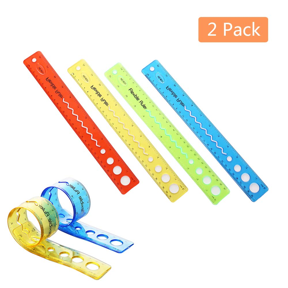 Transparent Ruler Flexible Ruler 30cm Ruler Folding Shatterproof Coloured Translucent 2Pack Randomly Colours (2) Yamii
