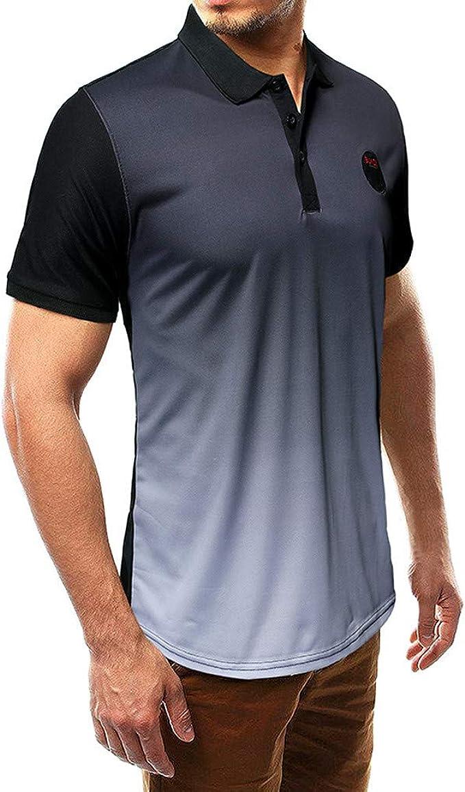 HTOOHTOOH Men Hipster Printed Slim Fit Short Sleeve Polo Shirts