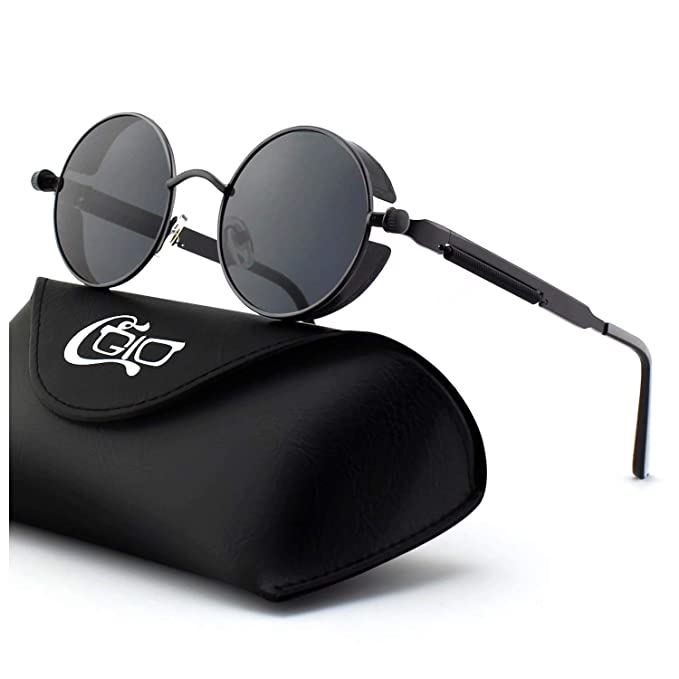 18895d0d37 CGID E72 Retro Steampunk Style Inspired Round Metal Circle Polarized  Sunglasses for Men  Amazon.co.uk  Clothing