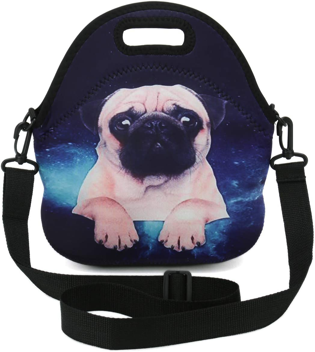 Insulated Neoprene Lunch Bag Tote with Detachable Adjustable Shoulder Strap Thermal Waterproof Outdoor Picnic Work,Office,School Lunch Box For Women,Teens,Girls,Kids,Baby,Adults (Starry Sky Pug)