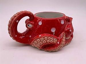 "Blue Sky Ceramic Red Octopus 8"" Planter, Multi Color"