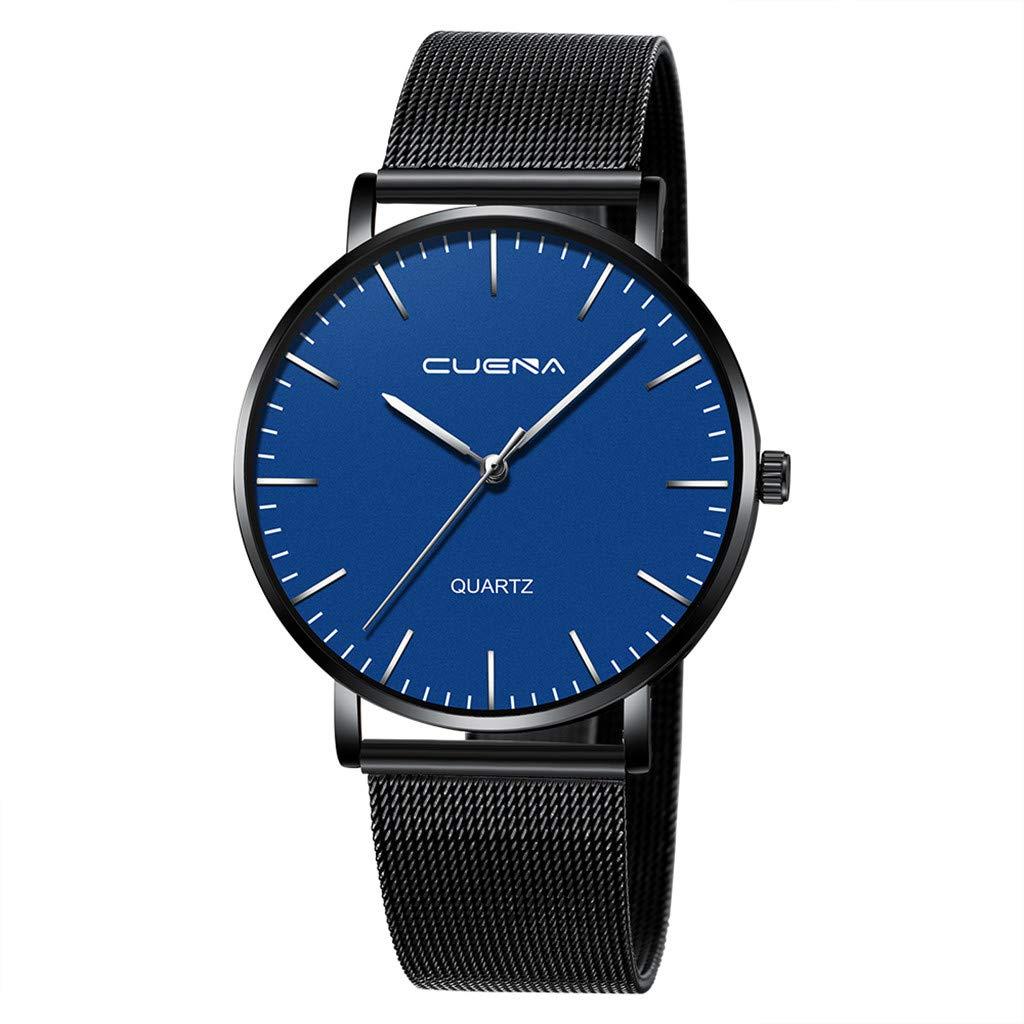 Men's Wrist Watch Men's Simple Stainless Steel Mesh Band Quartz Analog Wrist Watch Business Dress Watch