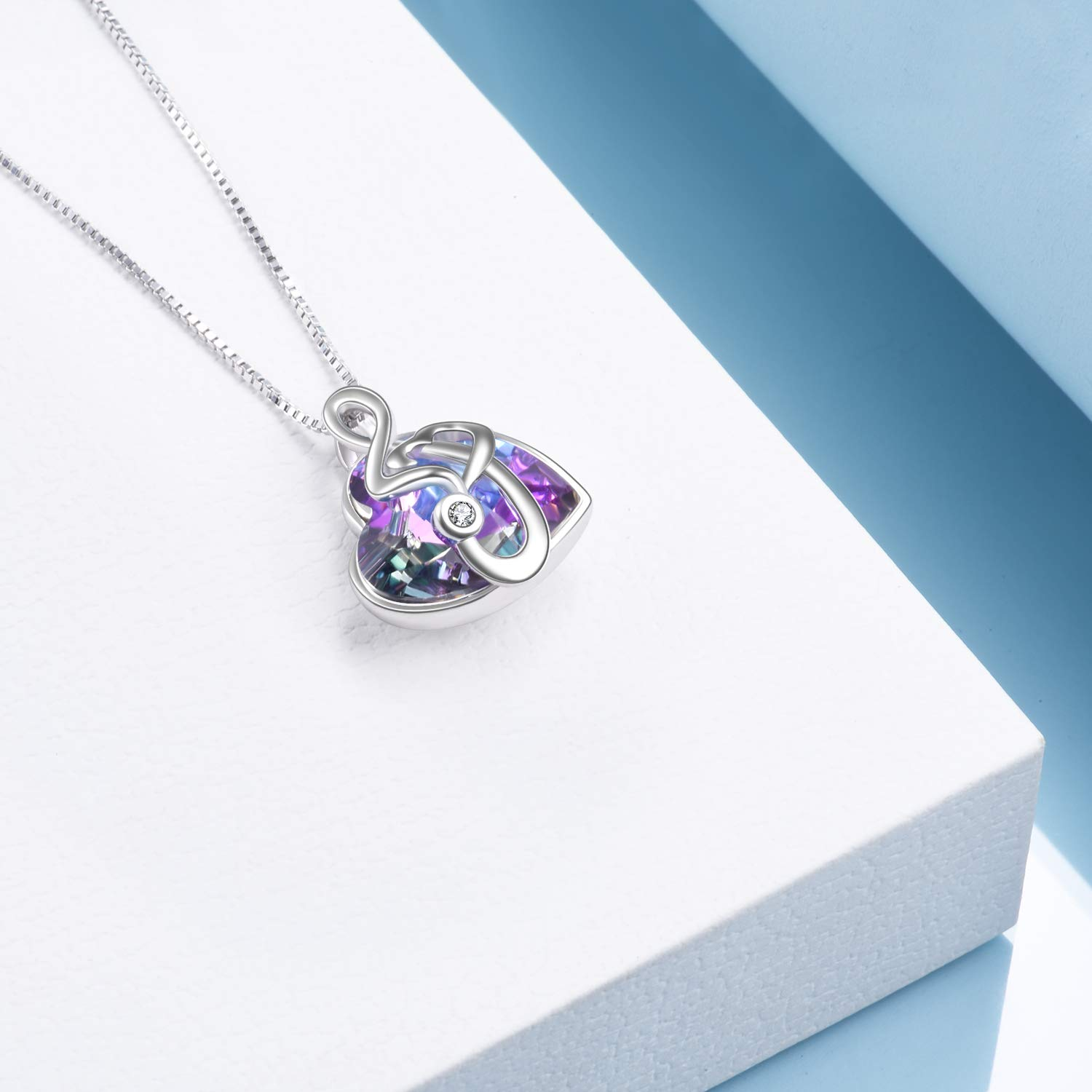 AOBOCO Dance with Me Purple Music Note Necklace for Women My Girls Heart Shaped Vitrail Color Changing Crystal Pendant with Swarovski Element