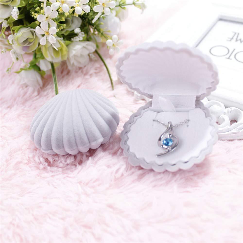Aofocy Bo/îte de pr/ésentation de bijoux de bo/îte de cadeaux de collier de velours de forme de coquille durable blanc