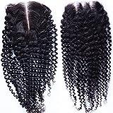 "Fureya Hair Brazilian Virgin Hair Human Hair Chiusura With Baby Hair Kinky Curly Top Lace Closure Part 8-20"" Naturl Black Bleached Knots"