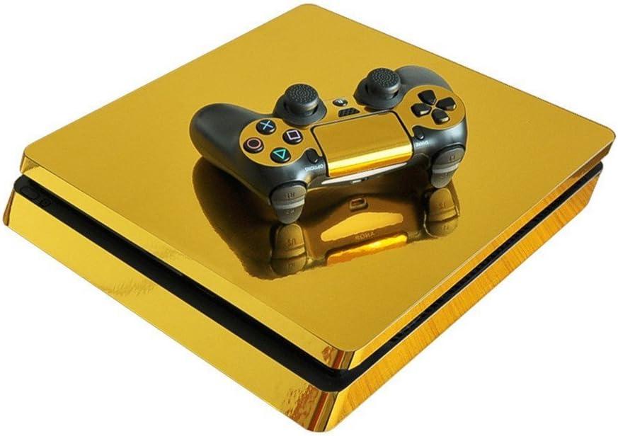 stillshine PS4 Slim Skin Pegatina para diseño pantalla protectora piel Carcasa para Sony Playstation 4 Slim Consola & 2 DualShock Controller dorado Glossy Gold: Amazon.es: Informática