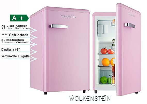 Retro Kühlschrank Klarstein : Retro kühlschrank mit gefrierfach pink ks rt sp a liter