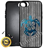 Custom iPhone 7 Case (Teal Hawaiian Turtle) Edge-to-Edge Rubber Black Cover with Shock and Scratch Protection | Lightweight, Ultra-Slim | Includes Stylus Pen by Innosub