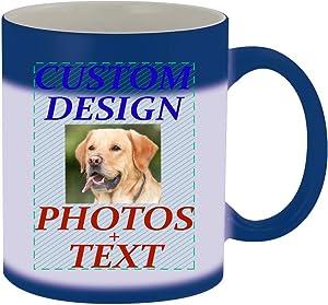 Custom Printed 11oz Ceramic Magic Color Changing Mug CP06 - Add Your Image Photograph Text or Design - Graphic Mug, Blue