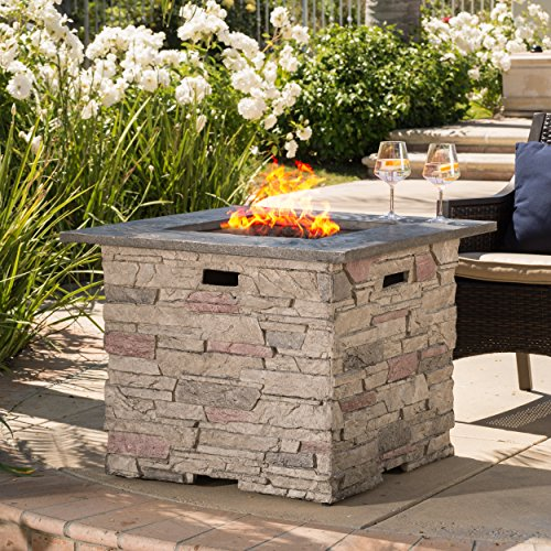 Rogers 32 Stone Square Fire Pit with Counter Top (Grey)