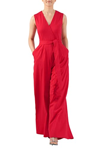 Vintage Rompers and Retro Playsuits  Tie waist surplice cotton knit jumpsuit $59.95 AT vintagedancer.com