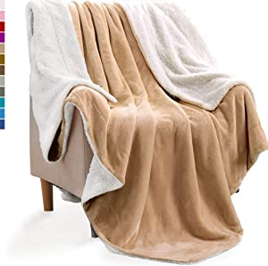 KAWAHOME Sherpa Fleece Blanket Super Soft Extra Warm Thick Winter Blanket for Couch Sofa Bed Twin Size 66 X 90 Inches Tan