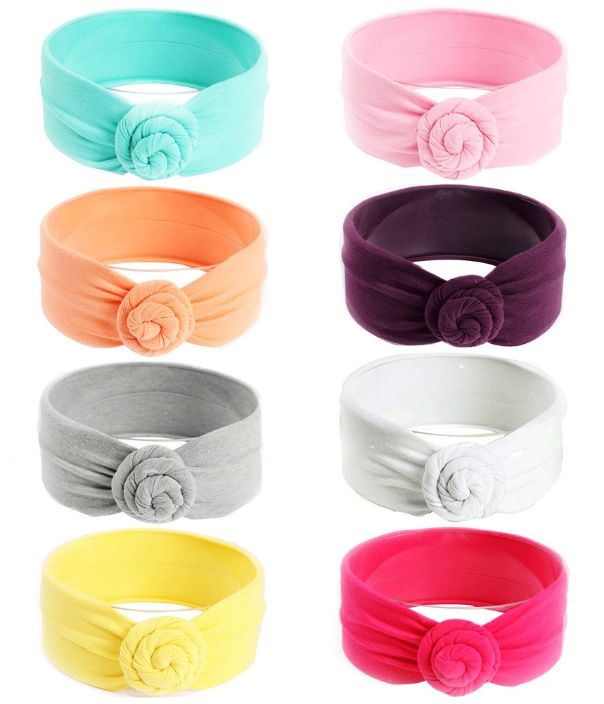 Qandsweet Baby Headbands Solid Knotted Design Bow Girl Turban Head Wrap (8 Pack) (Mix 8 Colors)