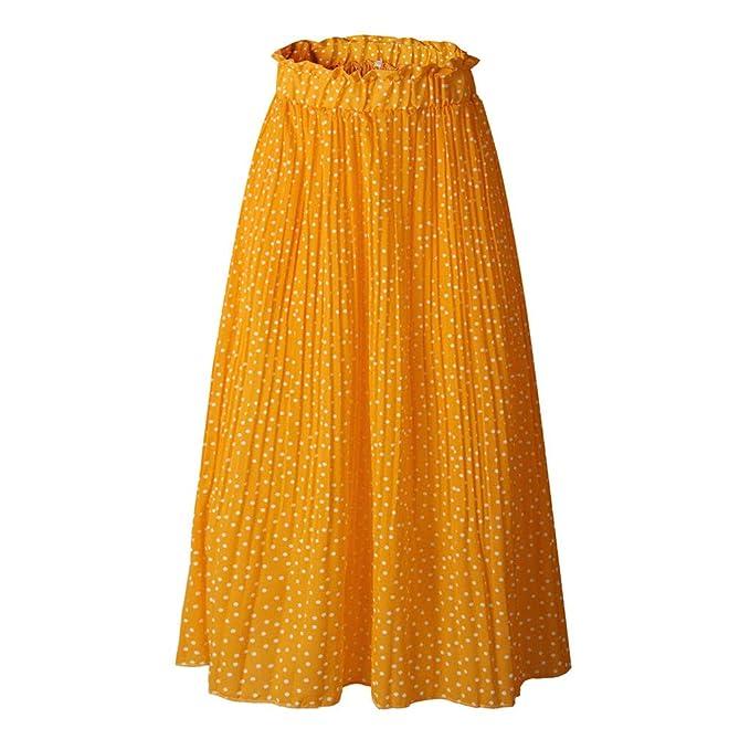 c5eb891eac TIFIY Nuevo 2019 Moda Mujer Falda Floral Estampada Vintage Cintura Alta  Elástica Casual Punto Faldas Larga
