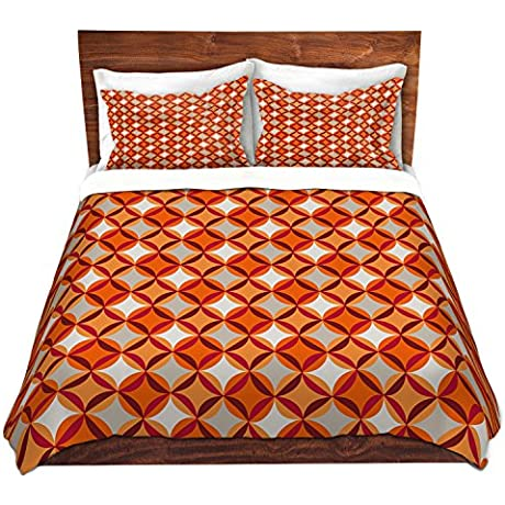 DiaNoche Designs Circles Red Cover Brushed Twill Twin Queen 8 King Duvet Sham Set