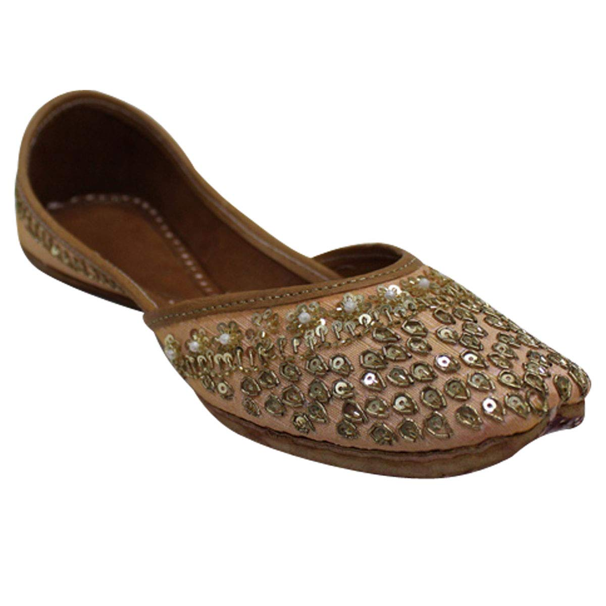 Stop N Style Gold Beaded Punjabi Jutti For Women Bridal Shoes