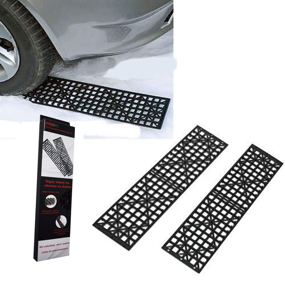 Auto Traction Mat Tire Grip Aid,Motorcycle Truck Loading Ramp, Recovery Traction Tracks Sand Mud Snow Track Tire Ladder,All-Weather(Set of 2) HJJH