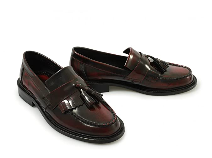 1f5dbbd9eec Ikon SELECTA Ladies Polished Leather Tassel Loafers Oxblood  Amazon.co.uk   Shoes   Bags