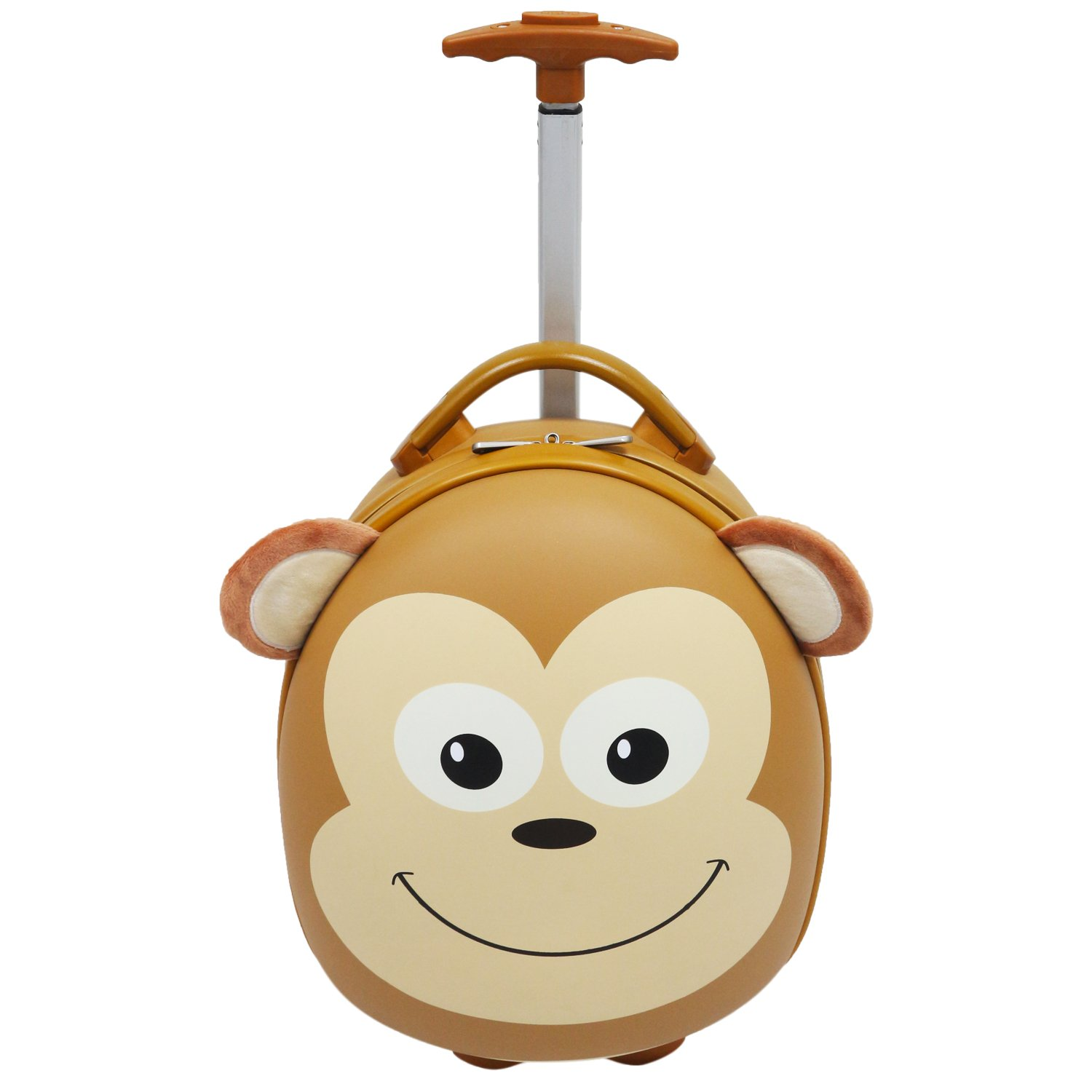 "Emmzoe Kids & Toddler 15"" Carry On Animal Trolley Hardshell Luggage - Lightweight EVA, Dent Proof, Adjustable Handle for Age 2+ (Mooch Monkey)"