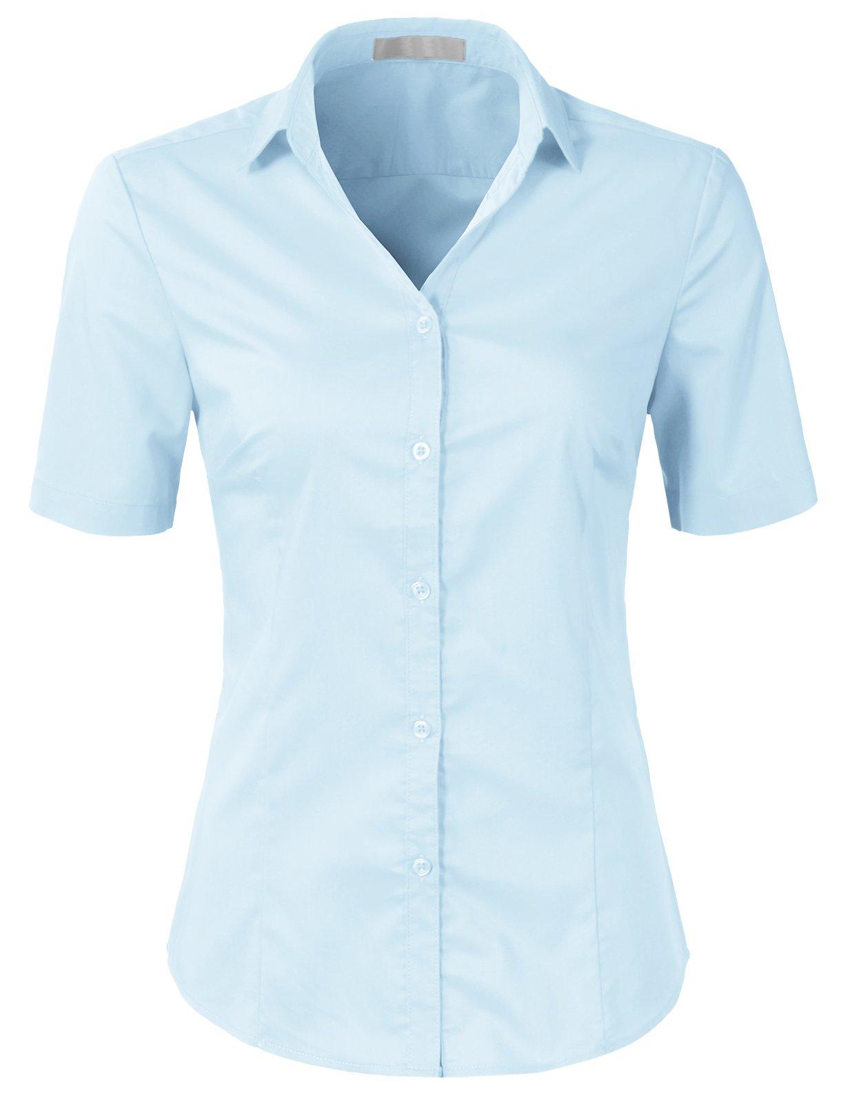 Galleon - H2H Womens Slim Fit Formal Short Sleeve Button Down Dress Shirt  Blouse Top SkyBlue XL 483ed3864