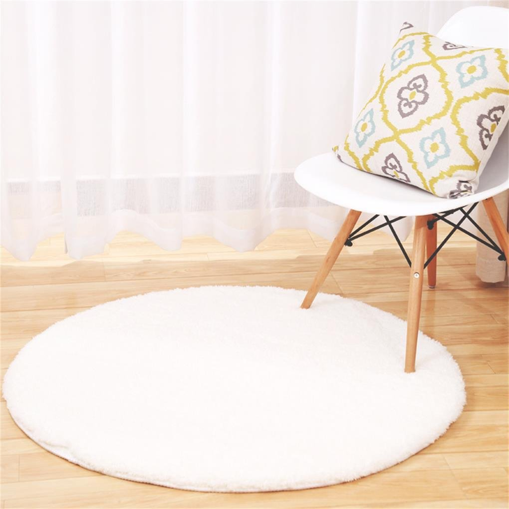 Yanie Einfarbig Multi-funktionale Kaschmir Runde Teppich Wohnzimmer Schlafzimmer Bettseite Rutschfeste Matte, Weiß, 160  160cm