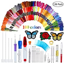 AHOMATE Magic Embroidery Pen Punch Needle Embroidery Patterns Punch Needle Kit Craft Tool Embroidery Pen Set, Threads for Sewing Knitting DIY Threaders