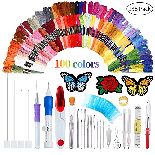 AHOMATE Magic Patterns Punch Needle Kit Craft Tool Embroidery Pen Set, Threads for Sewing Knitting DIY Threaders