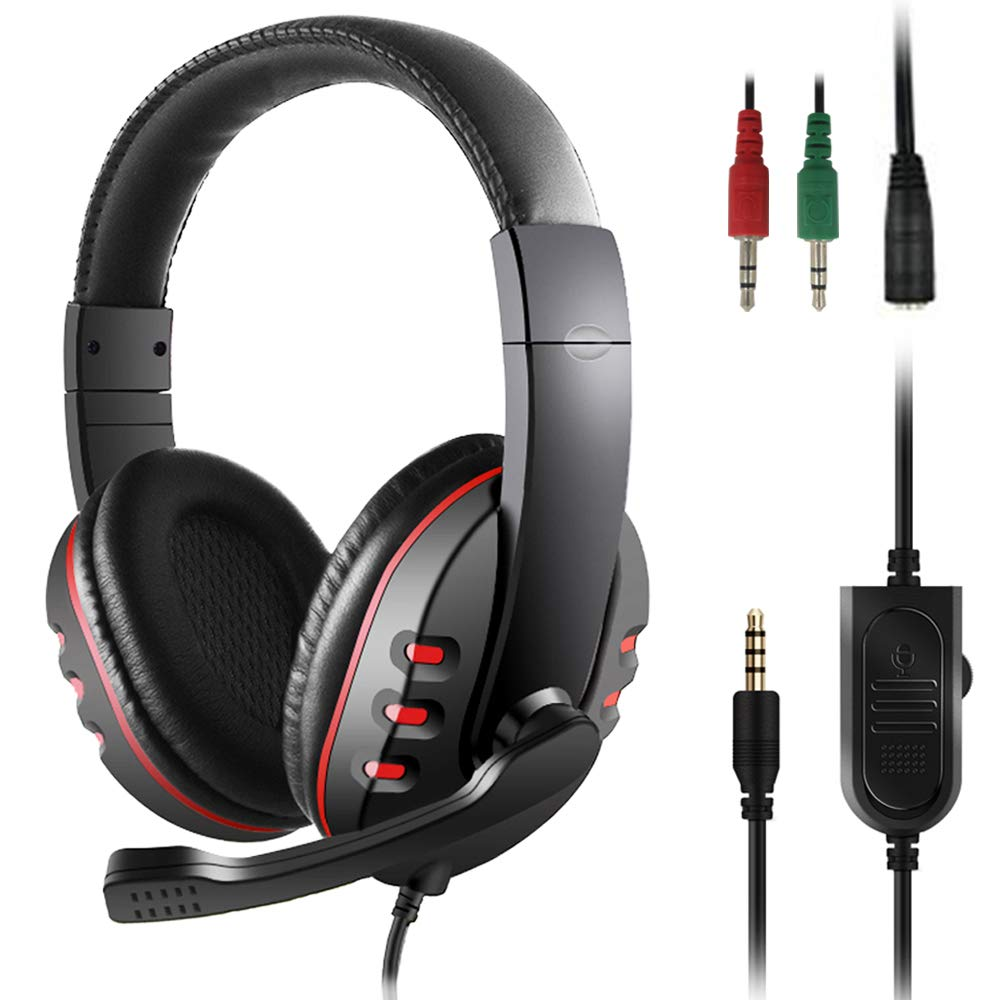 Gaming Headset, SourceTon 3.5mm Noise Isolating Over Ear Headphone with Mic and Volume Control compatible with Laptop, PC, PS4, Xbox One Controller, Bonus with Extra 3.5mm Adapter