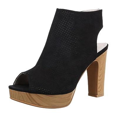 00e22e533c Cingant Woman Damen Sandaletten/Peeptoe/Absatz/Sommerschuhe/Elegante  Damenschuhe/Blockabsatz/