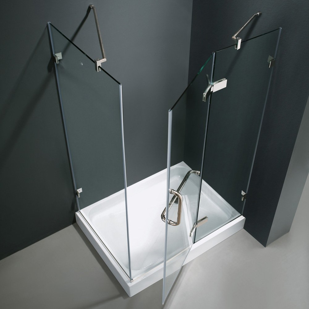 VIGO Monteray 32 X 48 In. Frameless Shower Enclosure With .375 In. Clear  Glass And Chrome Hardware (Right Base Included)   One Piece Tub And Shower  ...