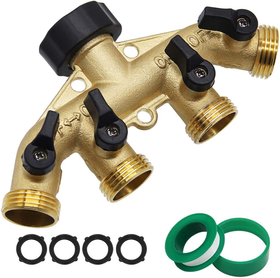 "Twinkle Star 4 Way Heavy Duty Brass Garden Hose Splitter, Hose Connector 3/4"", Hose Spigot Adapter with 4 Valves"