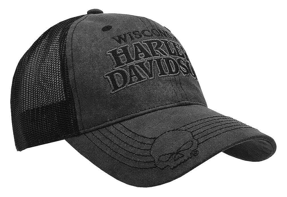 ae74c6a63 Harley-Davidson Men's Embroidered Skull & HD Text Mesh Trucker Cap  BCC119975 Black