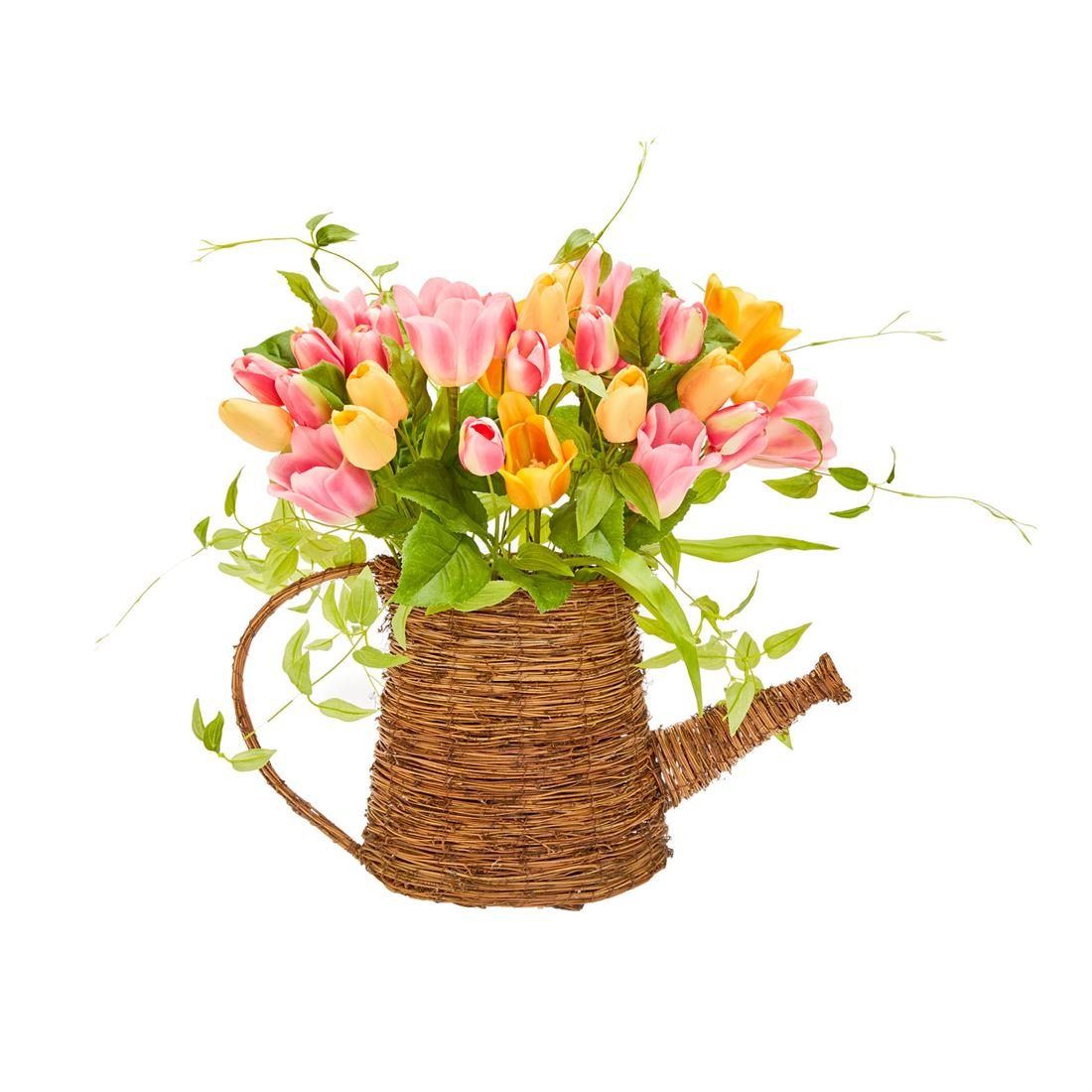 BrylaneHome Watering Can Floral Wall Basket (Multi,0)