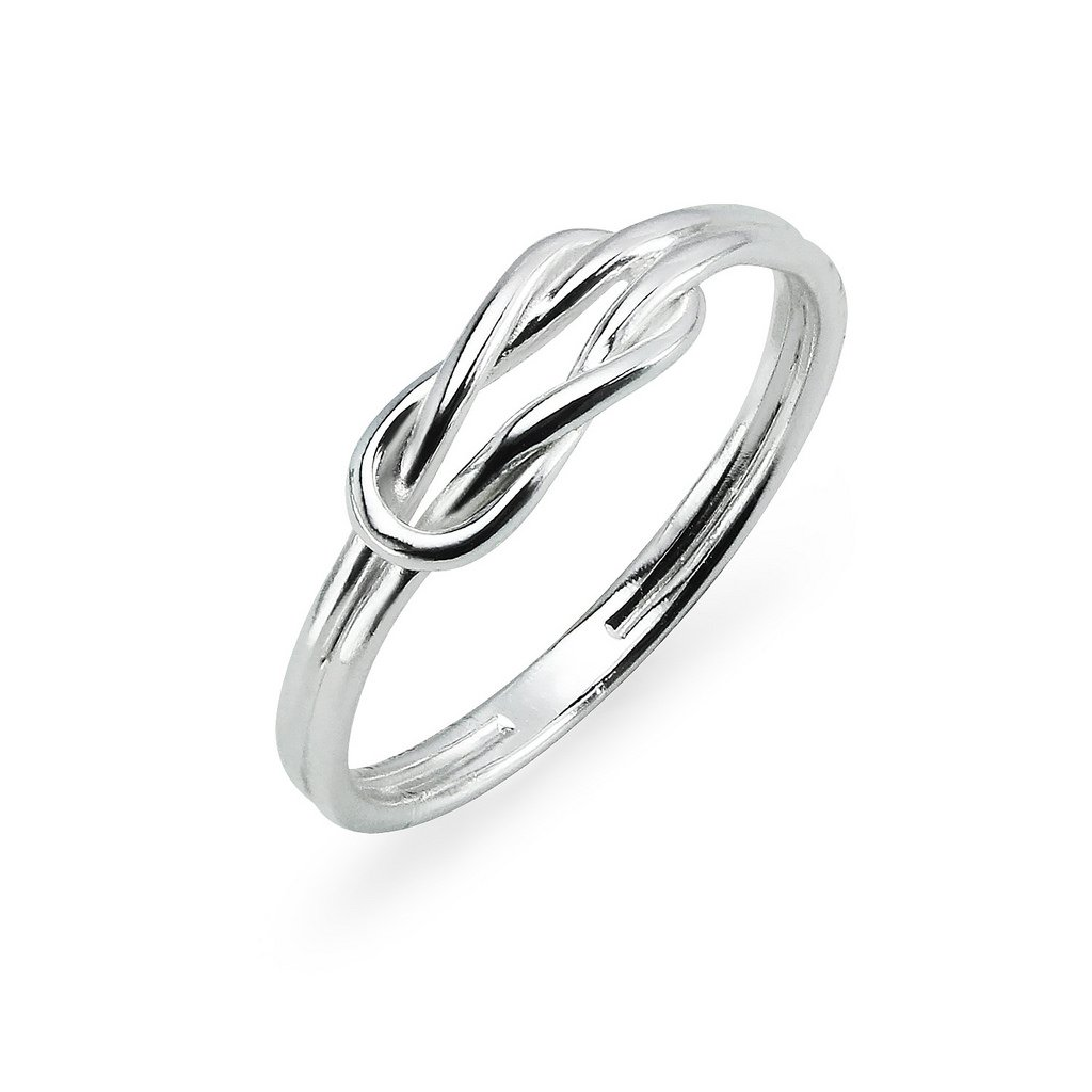 Sterling Silver High Polished Double Band Love Knot Ring Size 6