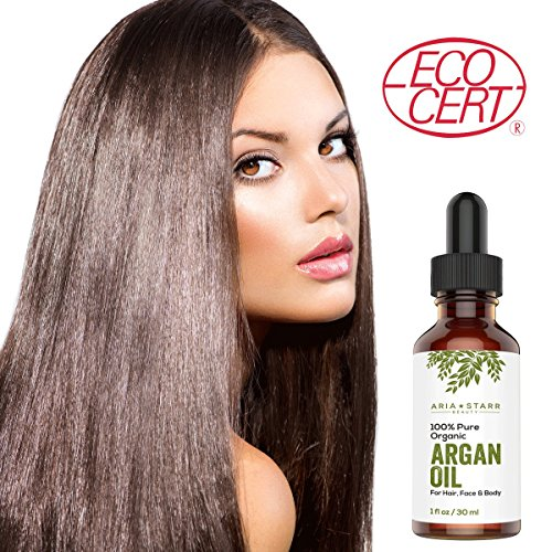 Aria Starr Beauty ORGANIC Argan Oil 4 OZ For Hair Skin Face Nails Beard Cuticles Best 100 Pure Moroccan Anti Aging Anti Wrinkle Beauty Secret EcoCert Certified Cold Pressed Moisturizer