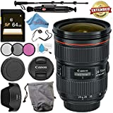 Canon EF 24-70mm f/2.8L II USM Lens 5175B002 + 82mm 3 Piece Filter Kit + 64GB SDXC Card + Lens Pen Cleaner + Fibercloth + Lens Capkeeper + Deluxe 70 Monopod + Deluxe Cleaning Kit Bundle