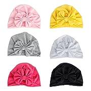 Xinshi Girls Baby Cotton Cloth Turban Kont Toddler Tabbit Ear Hat Kids Set Head Cap (bowh hat(6pcs))