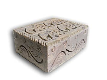 Beautiful Handmade Soapstone Trinket Box, Jewelry Storage Box. Engraved  Carved, Elephant Design.