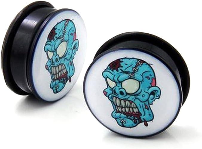 Sold as pair Earrings Solid Acrylic Printed Skulls Taper plug O-Rings 2 gauge