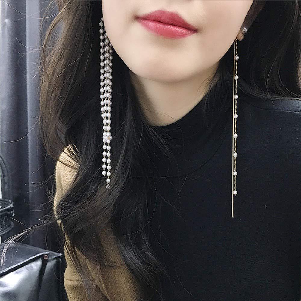 LSDAMW Earrings For Women Drop Dangle Girls Simple And Generous Long Asymmetrical Pearl Earrings Tassel Earrings