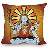 Throw Pillow Cushion Cover,Spiritual,Religious Figure on Grunge Backdrop Idol Meditation Boho Holy Print,Amber Orange Light Blue,Decorative Square Accent Pillow Case
