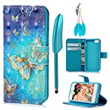 MOLLYCOOCLE iPhone SE Case, iPhone 5S Case, [Fantastic Golden Butterfly] Blue PU Leather Luxury Wallet Case Kickstand Flip Case Card Slots Wrist Strap Protective Cover for iPhone SE/5/5S