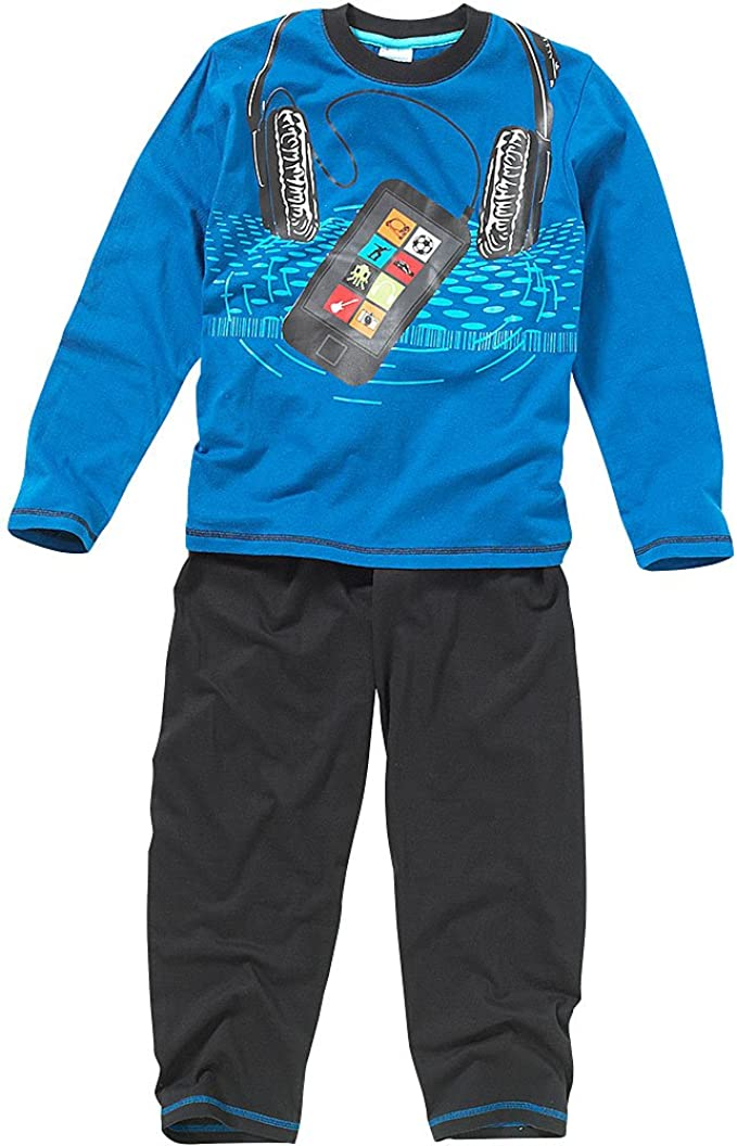 Bedlam Older Boys Headphones Mobile Phone Long Sleeve Leg Cotton Pyjamas Blue