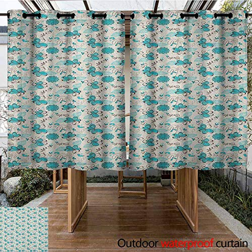 AndyTours Outdoor Curtains,Turquoise,Doodle Style Nature Love Themed Image with Hearts Flowers Leaves,Waterproof Patio Door Panel,K160C160 Turquoise Dark Brown White
