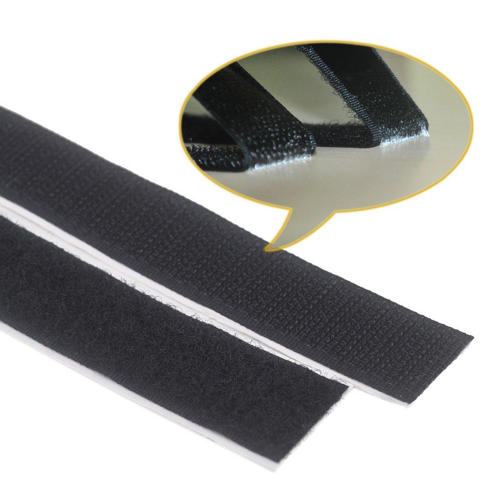 Lekou 0.8 Inch 100% Nylon Adhesive Hook and Loop Fastener Roll Tape Black - 16.5 Feet