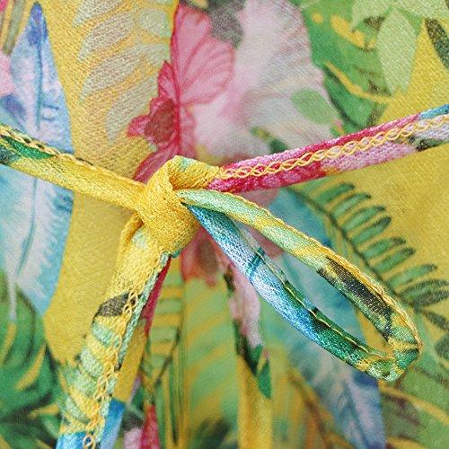 Col en Femme avec Jaune Ceinture Rond Manches Robe Polyester Plage de Courtes Sfit Floral zPqHwpH